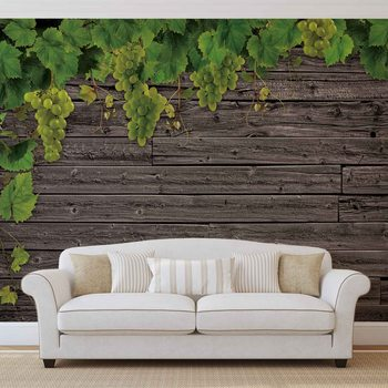 Wooden Wall Grapes Fotobehang