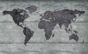 World Map Concrete Texture Fotobehang