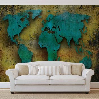 World Map On Wood Fotobehang