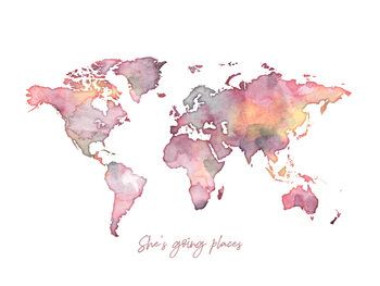 Worldmap she is going places Fotobehang