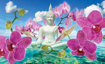 Zen Flowers Orchids Buddha Water Sky Fotobehang