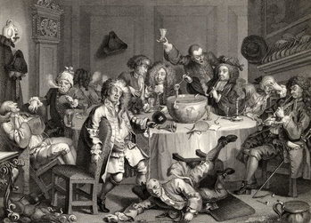 Reprodukcja A Midnight Modern Conversation, from 'The Works of William Hogarth', published 1833