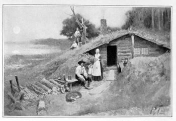 Reprodukcja A Pennsylvania Cave-Dwelling, illustration from 'Colonies and Nation' by Woodrow Wilson, pub. in Harper's Magazine, 1901