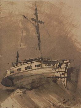Reprodukcja A Ship in Choppy Seas, 1864