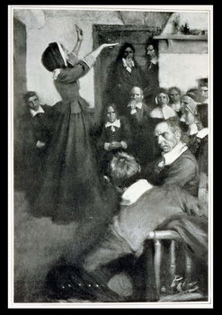 Reprodukcja Anne Hutchinson Preaching in her House in Boston, 1637, illustration from 'Colonies and Nation' by Woodrow Wilson, pub. in Harper's Magazine, 1901