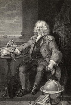 Reprodukcja Captain Thomas Coram, engraved by Benjamin Holl, from 'The Works of Hogarth', published 1833