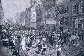 Reprodukcja Carnival at Philadelphia, illustration from 'The Battle of Monmouth Court House' by Benson J. Lossing, pub. in Harper's Magazine, June 1878