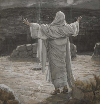 Reprodukcja Christ Retreats to the Mountain at Night, illustration from 'The Life of Our Lord Jesus Christ', 1886-94