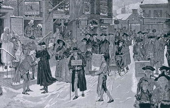 Reprodukcja Christmas Morning in Old New York Before the Revolution, illustration from Harper's Weekly, pub. 25th December 1880