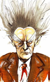 Reprodukcja Edgard Varèse, American composer of French origin ; caricature