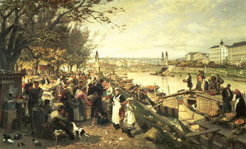 Reprodukcja Fruit market in Schazel, near the Maria Theresa Bridge, Vienna, 1895