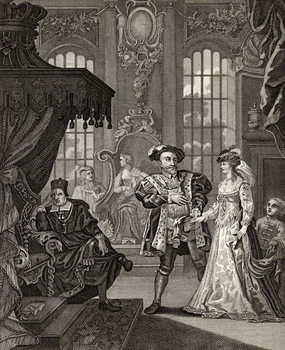 Reprodukcja Henry VIII and Anne Boleyn, engraved by T. Cooke, from 'The Works of Hogarth', published 1833