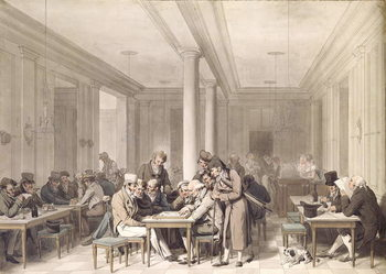 Reprodukcja Interior of a Parisian Cafe, c.1815