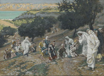 Reprodukcja Jesus Heals the Blind and Lame on the Mountain, illustration from 'The Life of Our Lord Jesus Christ'
