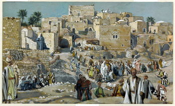 Reprodukcja Jesus Passing through the Villages on His Way to Jerusalem, illustration for 'The Life of Christ', c.1884-96