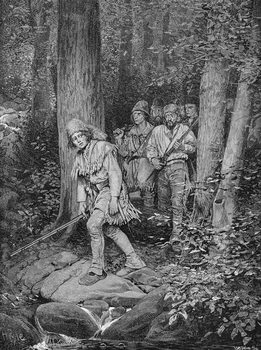 Reprodukcja Joseph Brown Leading his Company to Nicojack, the Stronghold of the Chickamaugas, engraved by Robert Hoskin, illustration from 'The Southern Gateway to the Alleghanies' by Edmund Kirke, pub. in Harper's Magazine, 1887