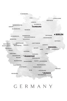 Ilustracja Map of Germany with cities in grayscale watercolor