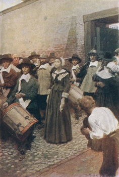 Reprodukcja Mary Dyer on her Way to the Scaffold, illustration from 'The Hanging of Mary Dyer' by Basil King, pub. in McClure's Magazine, 1906