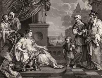 Reprodukcja Moses before Pharaoh's Daughter, from 'The Works of William Hogarth', published 1833