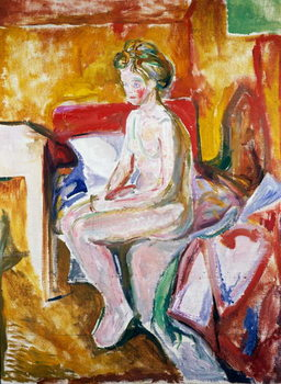 Reprodukcja Nude on edge of bed, 1916