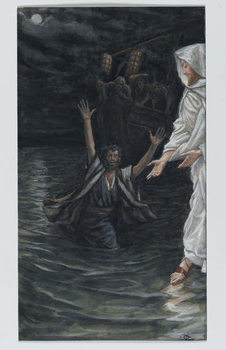 Reprodukcja Saint Peter Walks on the Sea, illustration from 'The Life of Our Lord Jesus Christ'