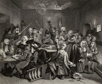 Reprodukcja Scene in a Gaming House, plate VI from 'A Rake's Progress', from 'The Works of William Hogarth', published 1833