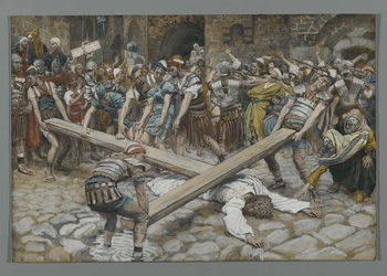 Reprodukcja Simon the Cyrenian Compelled to Carry the Cross with Jesus, illustration from 'The Life of Our Lord Jesus Christ', 1886-94