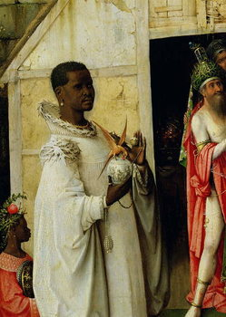 Reprodukcja The Adoration of the Magi: detail of King Balthazar from the central panel of the triptych, 1510
