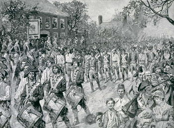 Reprodukcja The Continental Army Marching Down the Old Bowery, New York, 25th November 1783, illustration from 'The Evacuation, 1783' by Eugene Lawrence, pub. in Harper's Weekly, 24th November 1883