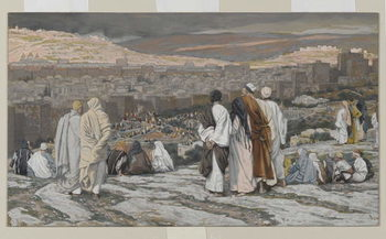 Reprodukcja The Disciples Having Left Their Hiding Place Watch from Afar in Agony, illustration from 'The Life of Our Lord Jesus Christ', 1886-94