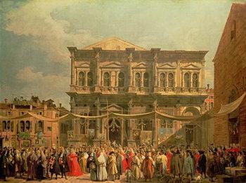 Reprodukcja The Doge Visiting the Church and Scuola di San Rocco, c.1735