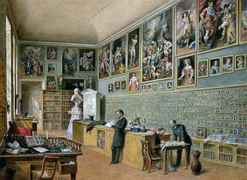 Reprodukcja The Library, in use as an office of the Ambraser Gallery in the Lower Belvedere, 1879