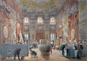 Reprodukcja The Marble Room with Egyptian, Greek and Roman Antiquities of the Ambraser Gallery in the Lower Belvedere, 1876