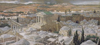 Reprodukcja The Pagan Temple Built by Hadrian on the Site of Calvary, illustration for 'The Life of Christ', c.1886-94
