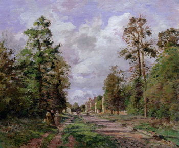 Reprodukcja The road to Louveciennes at the edge of the wood, 1871