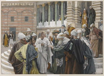 Reprodukcja The Tribute Money, illustration from 'The Life of Our Lord Jesus Christ', 1886-94