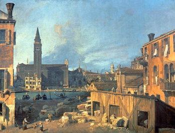 Reprodukcja Venice: Campo San Vidal and Santa Maria della Carita (The Stonemason's Yard) 1727-28