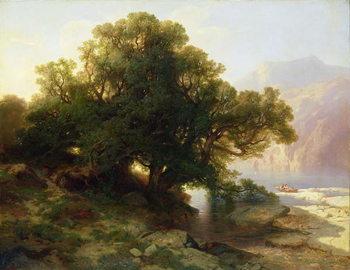 Reprodukcja View of Lake Thuner, 1854