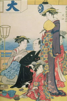 Reprodukcja Women of the Gay Quarters, right hand panel of a diptych (colour woodblock pring)