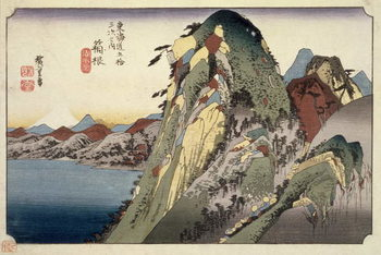 Reprodukcja  Hakone: Lake Scene, from the series '53 Stations of the Tokaido' ('Tokaido gojusan tsugi no uchi'), pub. by Hoeido, 1833,