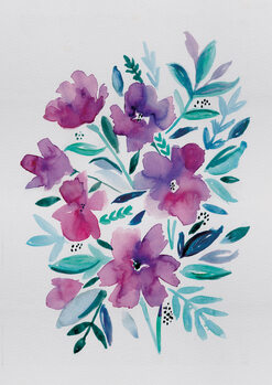 Ilustracja Loose pink floral watercolour