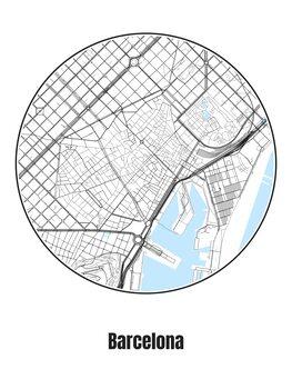 Ilustracja Map of Barcelona