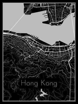 Ilustracja Map of Hong Kong