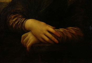 Reprodukcja Mona Lisa, detail of her hands, c.1503-06