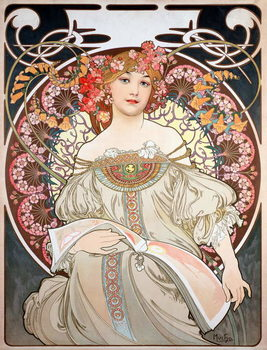 Reprodukcja Poster by Alphonse Mucha (1860-1939) for the calendar of the year 1896 - Calendar illustration by Alphonse Mucha (1860-1939), 1896  - Private collection