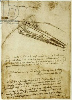 Reprodukcja  The Machine for flying by Leonardo da Vinci  - Codex Atlantique