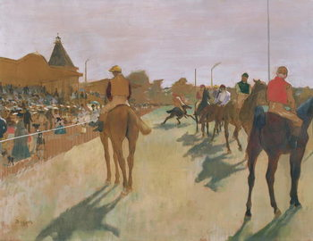Reprodukcja  The Parade, or Race Horses in front of the Stands, c.1866-68