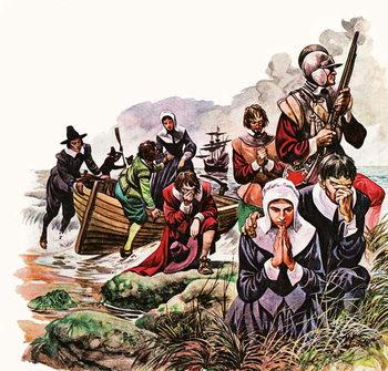 Reprodukcja  The Pilgrim Fathers land in America