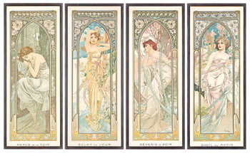 Reprodukcja The Times of the Day; Les heures du jour (a set of four), 1899