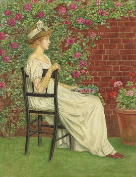 A Young Girl Seated in a Chair, a Bowl of Cherries in her Hand, - Stampe d'arte